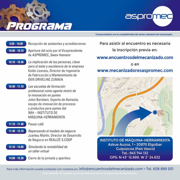 Programa XVI Encuentro del Mecanizado de Elgoibar